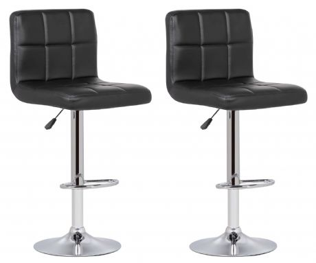 Pair of 2 Milan Black Faux Leather Padded Seat Bar Stools - PRE-ORDER ITEM.